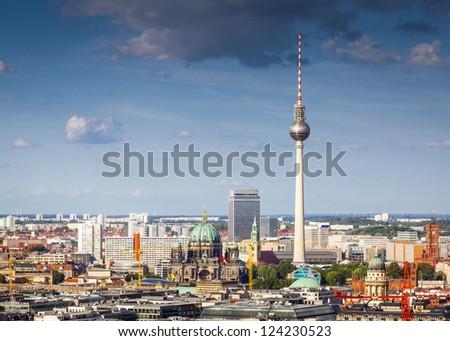 Fernsehturm television tower, Berlin views, Germany - stock photo
