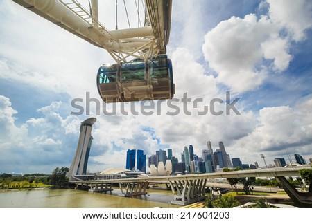 Ferris wheel and Singapore downtown skyline - stock photo