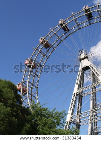 ferris wheel - famous prater amusement park,vienna - stock photo