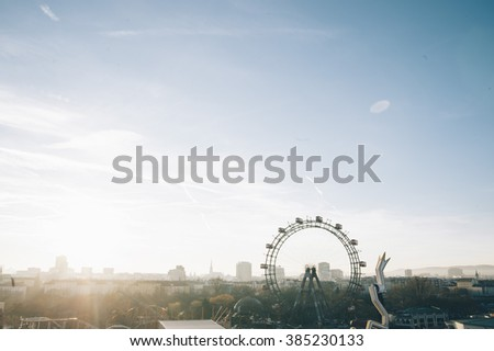 Ferris wheel in the city center in Vienna, Austria - stock photo