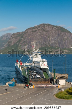 Ferry arriving in Lauvik, Norway, after a short trip on the Lysefjord - stock photo