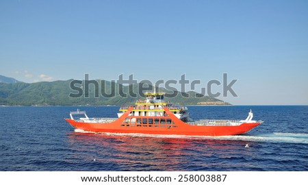 ferry boat sailing to Thassos - stock photo