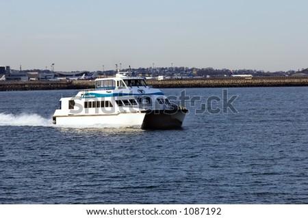 Ferry,  Boston Harbor - stock photo