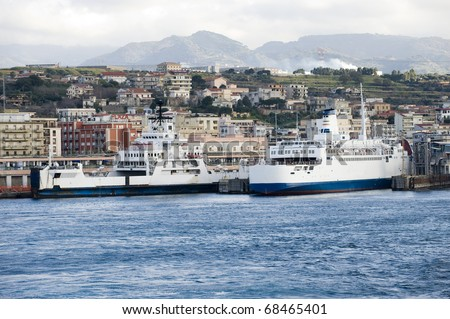 ferry by the dock - stock photo