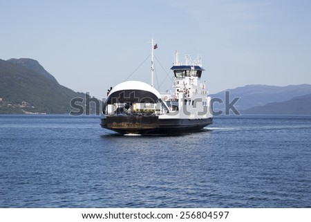 Ferry Hjelmeland to Nesvik along route 13 (Rogaland, Norway) - stock photo