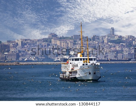 Ferryboat and seagulls, Istanbul - stock photo