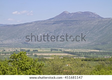 Fertile plateau at the foot of Vojaks, the highest mountain in Istria - stock photo