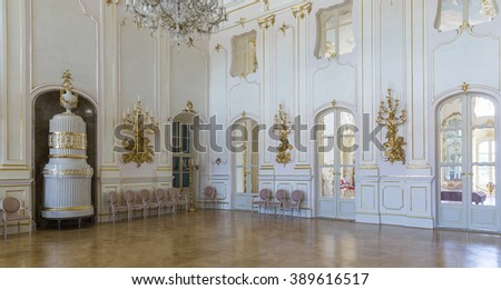 """FERTOD, HUNGARY - JUNE 9 Interior of the Esterhazy Castle as on June 9, 2014 in Fertod. Built in the 18. cent. sometimes called the """"Hungarian Versailles"""", it is Hungary's grandest Rococo edifice. - stock photo"""