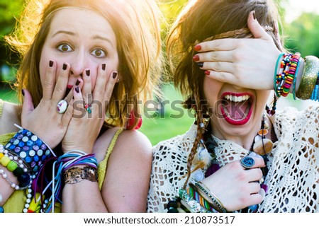 Festival people, facial expression - stock photo