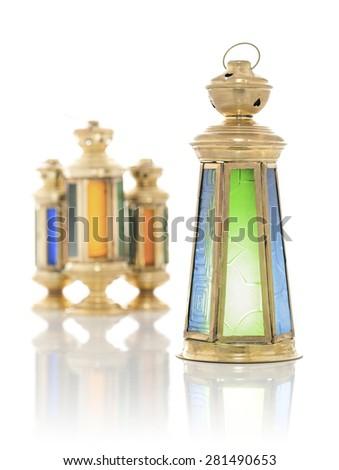 Festive Antique Ramadan Lanterns Isolated on White Background - stock photo