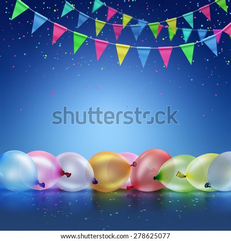 Festive background with balloons and flags on blue background - stock photo