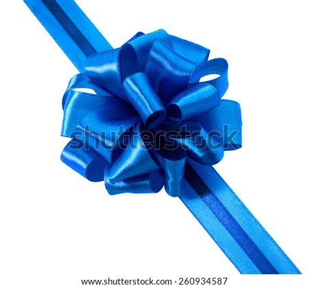 Festive blue gift ribbon and bow isolated on white background cutout - stock photo