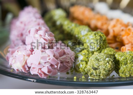 Festive buffet at the event with desert - stock photo