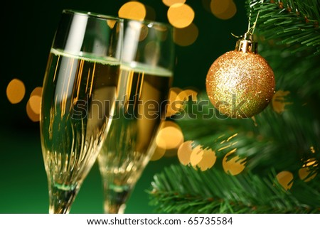 festive champagne glasses - stock photo