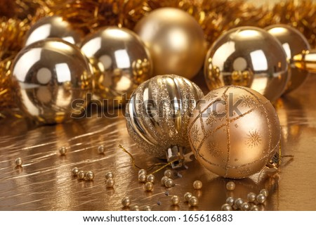 Festive Christmas and New Year decoration with ornaments - stock photo