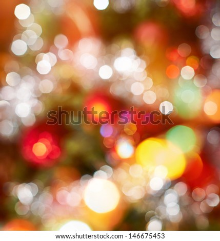 Festive Christmas background of defocused decorated xmas tree bokeh composition - stock photo