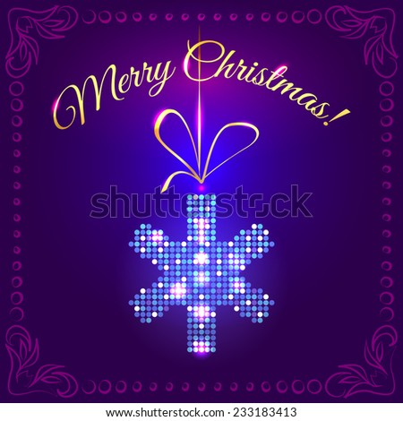 Festive Christmas card with a bright blue snowflake in sparkling sequins, suspended on a gold ribbon on a dark background with decorated frame - stock photo
