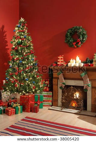 Festive Christmas interior - stock photo