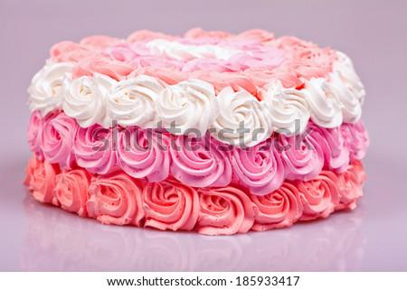 Festive cream cake - stock photo