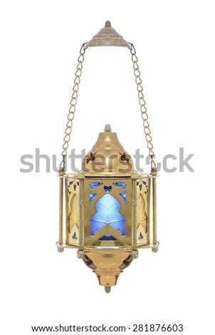 Festive Dangling Ramadan Lantern Isolated on White Background - stock photo