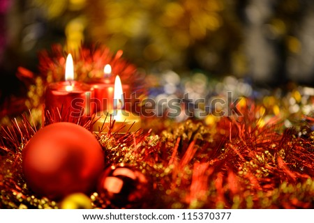 Festive decorations with candles. The color red - stock photo