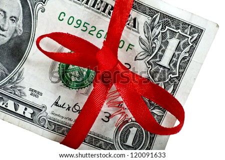Festive dollar with a part of Washington portrait and a thread hanging out of a bow isolated on white/Dollar with a bow - stock photo