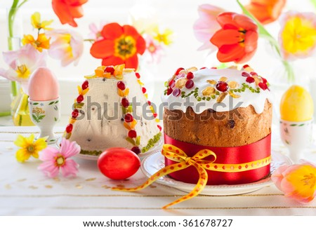Festive Easter cake with the candied fruits - stock photo