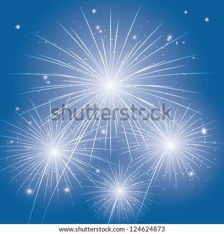 festive fireworks in the blue sky. (vector version also available in my gallery) - stock photo
