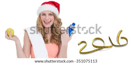 Festive fit blonde smiling at camera against white background with vignette - stock photo