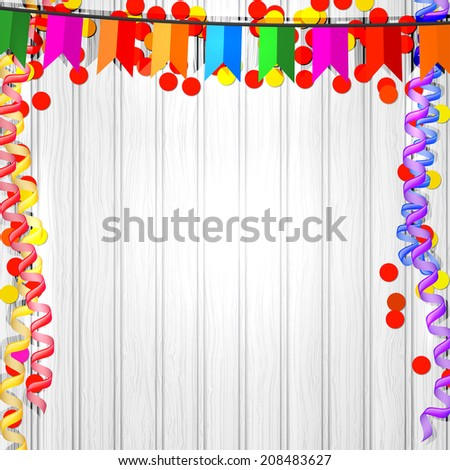 Festive flags, serpentine and confetti on a wooden background. raster copy - stock photo