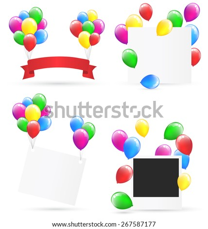 Festive frames with inflatable bright air balls isolated on white background - stock photo