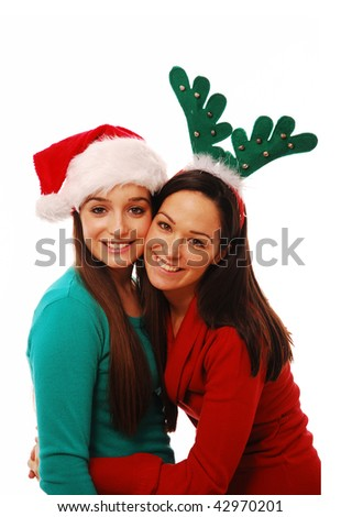 Festive friends smiling on white isolated background - stock photo