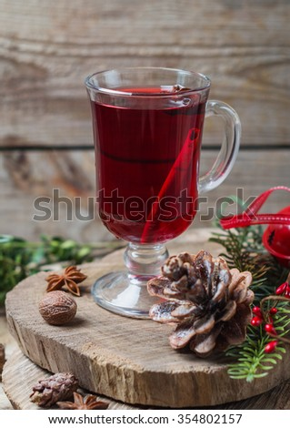 festive fruit punch in the Christmas interior - stock photo
