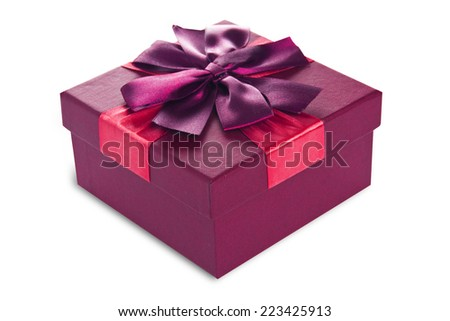 Festive gift box made of cardboard with a beautiful ribbon of  burgundy color on a white background, isolated - stock photo