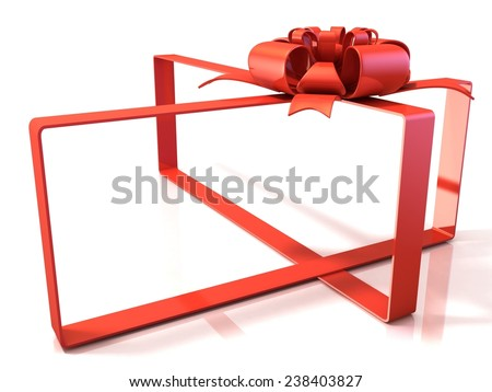 Festive gift ribbon and bow, box shaped, 3D rendering isolated on white. Copy space - stock photo
