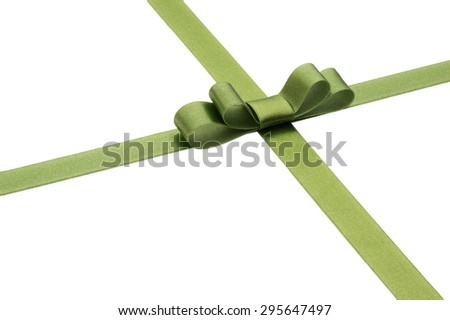 Festive green gift ribbon and bow isolated on white background - stock photo
