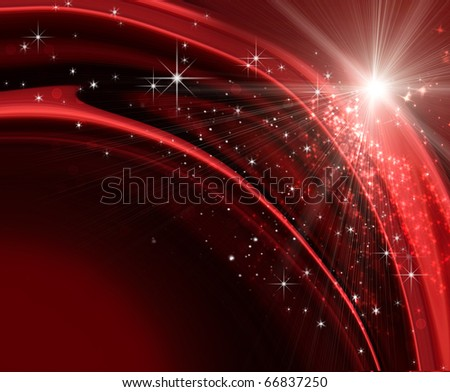 Festive holiday background with sparkles and stars - stock photo