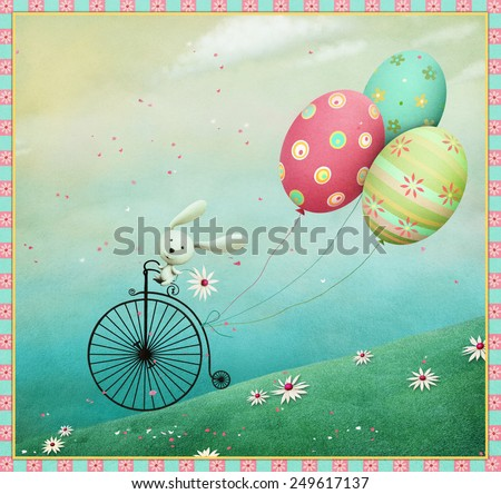 Festive illustration or greeting card with Bunny riding bike - stock photo
