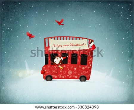 Festive illustration or poster  or greeting card with red bus and monkey gifts. Computer graphics. - stock photo