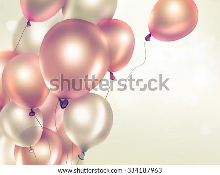 Festive light background with orange balloons full screen - stock photo