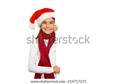 Festive little girl showing card on white background - stock photo