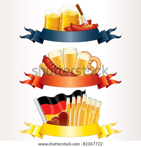 Festive Oktoberfest Headers, Banners with Beer, Wurst, Flag and Pretzel. Ready for your own text or design - stock photo