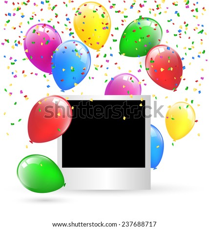 Festive photo frame with multicolored inflatable air balls and confetti isolated on white background  - stock photo