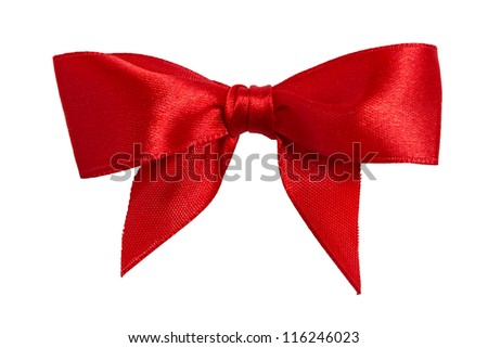 Festive red bow made of ribbon isolated on white - stock photo