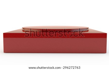 festive red pedestal with two levels different in a form - stock photo