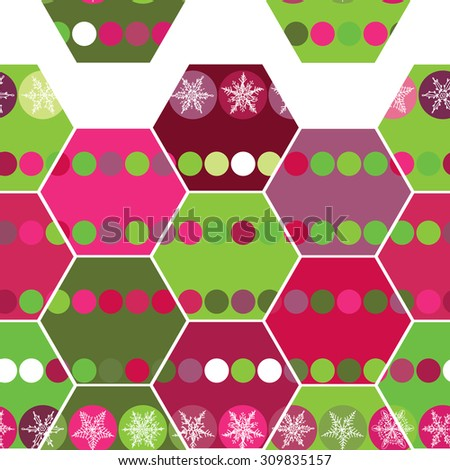 Festive seamless pattern hexagon and Christmas snowflakes. Pink, purple, green background.  - stock photo