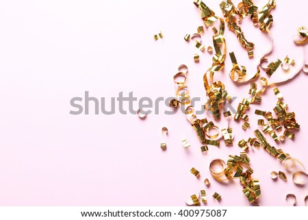 Festive. Serpentine on the table - stock photo