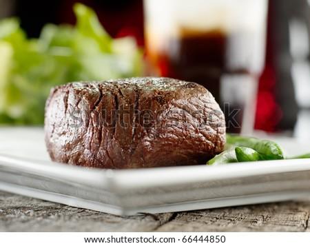 festive sirloin steak dinner - stock photo