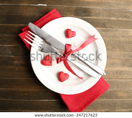 Festive table setting for Valentine Day - stock photo