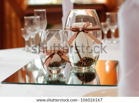 Festive table setting for wedding or other event - stock photo